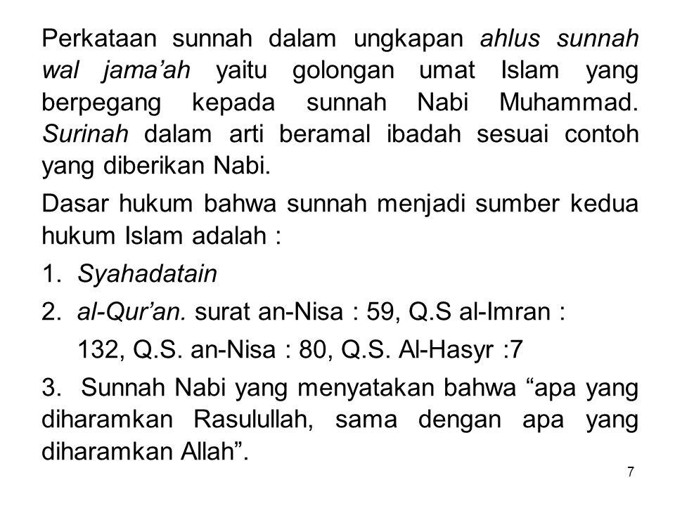 7 Perkataan sunnah dalam ungkapan ahlus sunnah wal jama'ah yaitu golongan umat Islam yang berpegang kepada sunnah Nabi Muhammad. Surinah dalam arti be