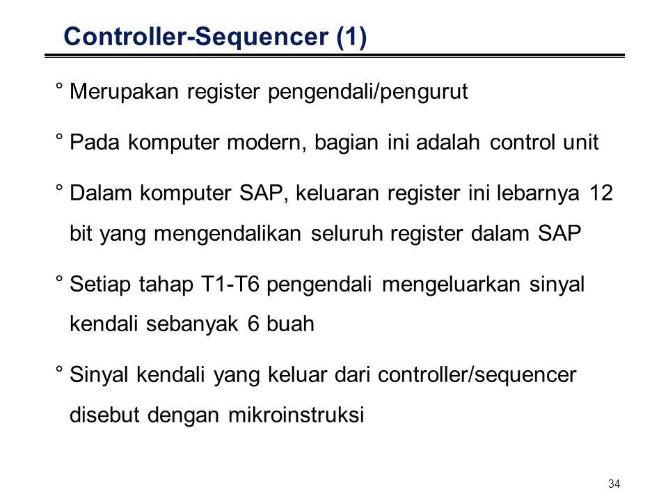 34 Controller-Sequencer (1) °Merupakan register pengendali/pengurut °Pada komputer modern, bagian ini adalah control unit °Dalam komputer SAP, keluara