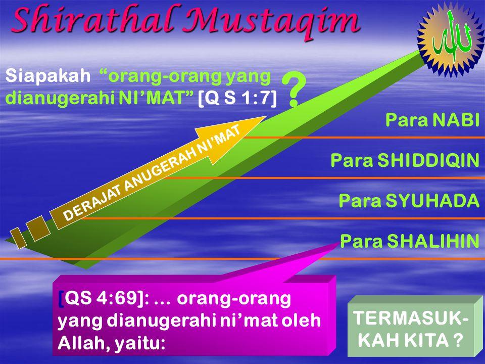 Shirathal Mustaqim Dalam dialog shalat manusia memohon: Tunjukilah ya Allah Jalan Yang Lurus [QS1:6] Allah menjawab: … yang medapatkannya adalah orang-orang yang dianugerahi NI'MAT… [QS1:7] Siapakah yang dianugerahi Allah Jalan Yang Lurus