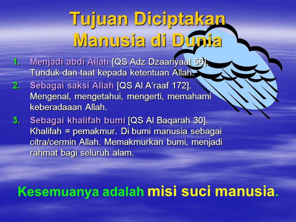 ALAM AKHIRAT Perjalanan Menemui Allah ALAM NUR ALAM ALASTU ALAM RAHIM ALAM DUNIA ALAM BARZAKH PADANG MAHSYAR MASA PERHI- SABAN NERAKA SURGA KIAMAT KELAHIRANKEMATIAN SUCI KOTOR BERJUMPA Jiwa Jiwa Jiwa + JasadJiwa + Jasad Jiwa Jiwa + Jasad Lain Q S 2 : 2 2 3