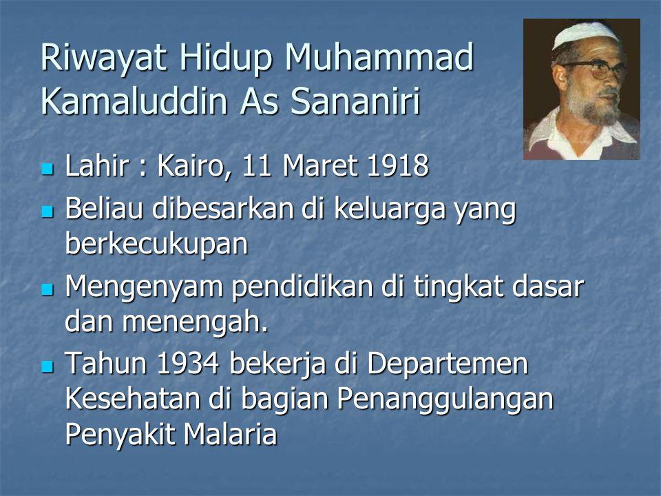Riwayat Hidup Muhammad Kamaluddin As Sananiri Lahir : Kairo, 11 Maret 1918 Lahir : Kairo, 11 Maret 1918 Beliau dibesarkan di keluarga yang berkecukupan Beliau dibesarkan di keluarga yang berkecukupan Mengenyam pendidikan di tingkat dasar dan menengah.
