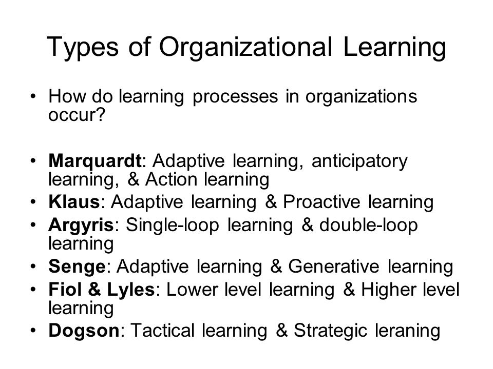 Types of Organizational Learning How do learning processes in organizations occur.
