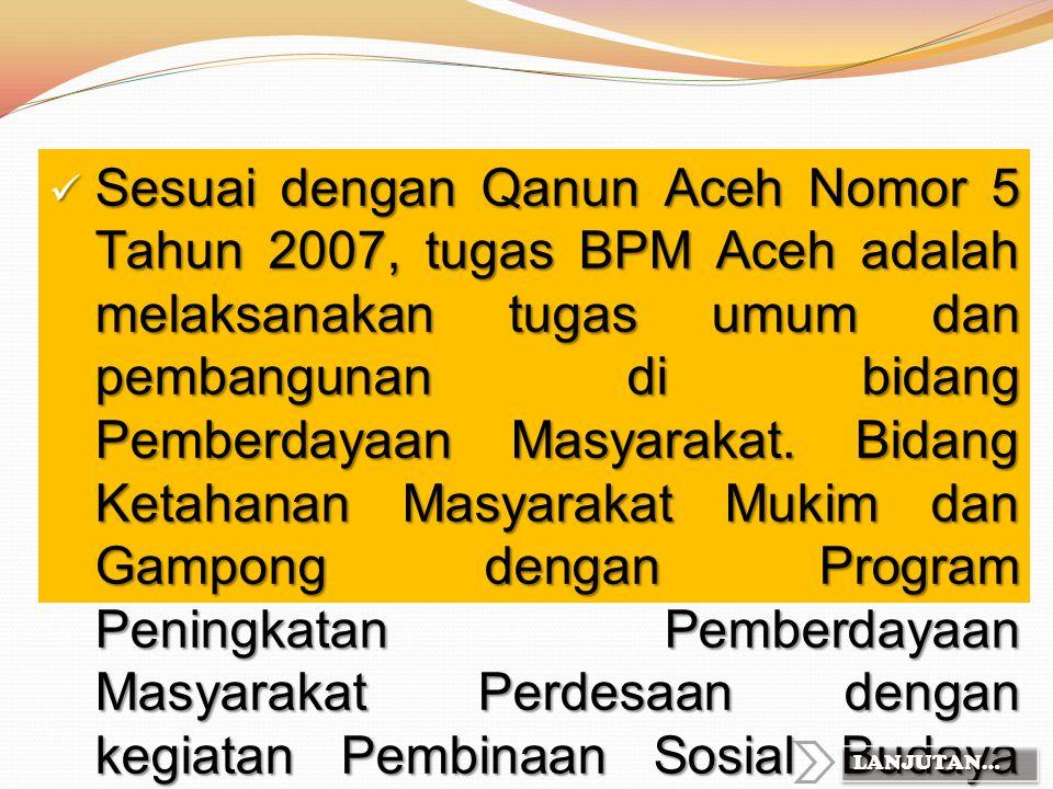 """Visi dan Misi BPM Aceh Visi : """"Terwujudnya Kemandirian Masyarakat Nanggroe Aceh Darussalam"""" Misi : 1. Pemantapan penyelenggaraan mukim dan gampong; 2."""