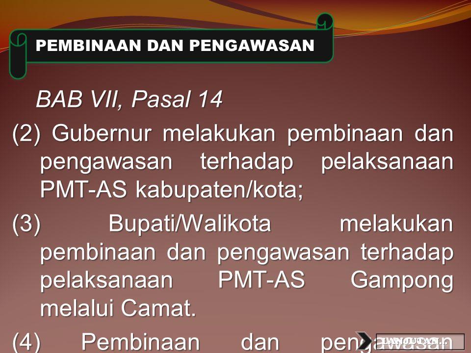 Pasal 12 Point 1 : Tim pelaksana merupakan tim yang dibentuk dalam rangka pelaksanaan PMT-AS di sekolah. Point 2 : Tim pelaksana sebagaimana dimaksud