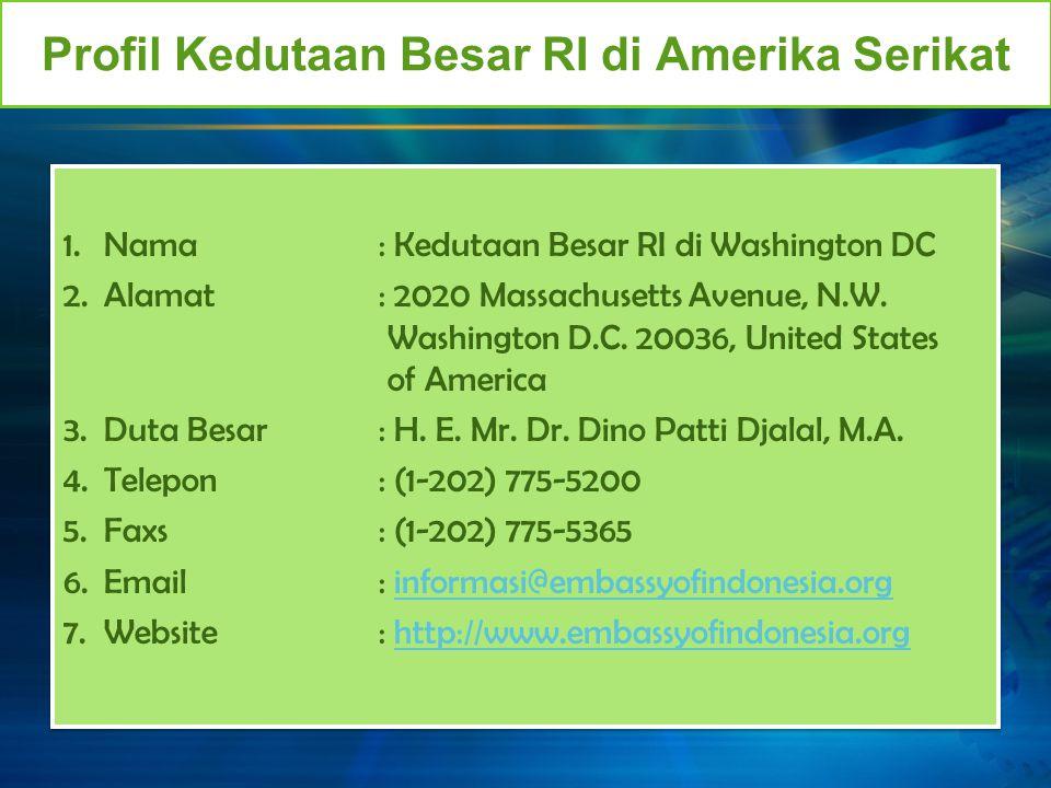 Profil Kedutaan Besar RI di Amerika Serikat 1.Nama: Kedutaan Besar RI di Washington DC 2.Alamat: 2020 Massachusetts Avenue, N.W. Washington D.C. 20036