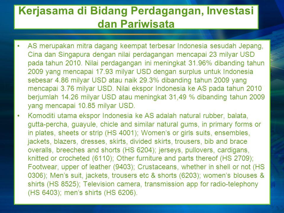 Kerjasama di bidang Pendidikan dan IPTEK Kerjasama RI-AS di bidang pendidikan sudah dimulai sejak tahun 1952 melalui program beasiswa Fulbright dan dalam perkembangan lebih lanjut juga dilakukan oleh lembaga American Indonesian Exchange Foundation (AMINEF).