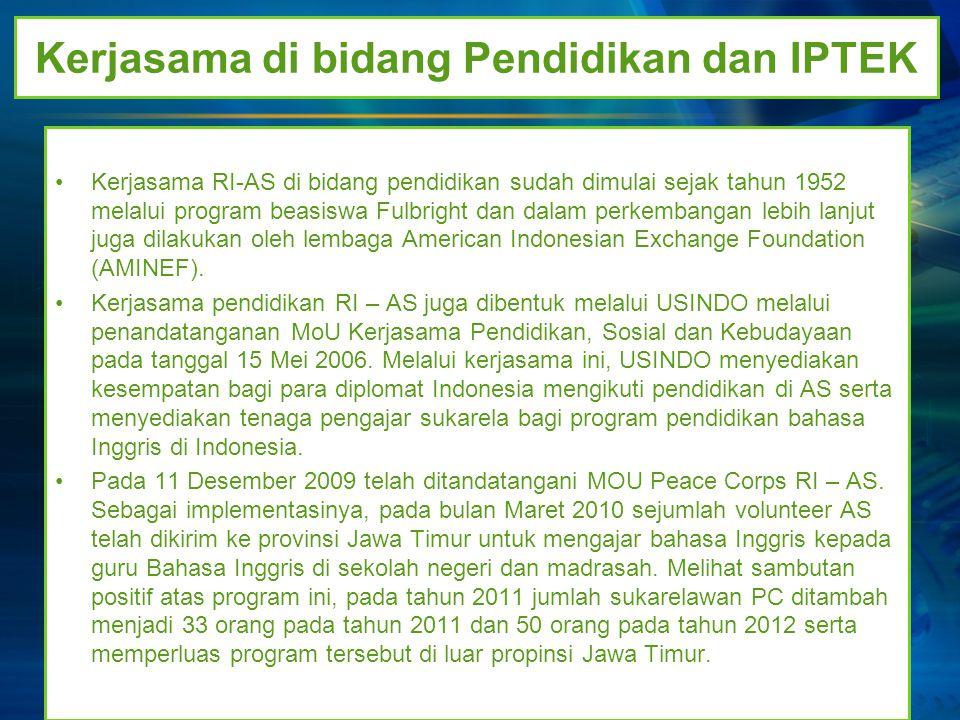 Kerjasama di Bidang Perdagangan, Investasi dan Pariwisata AS merupakan mitra dagang keempat terbesar Indonesia sesudah Jepang, Cina dan Singapura dengan nilai perdagangan mencapai 23 milyar USD pada tahun 2010.