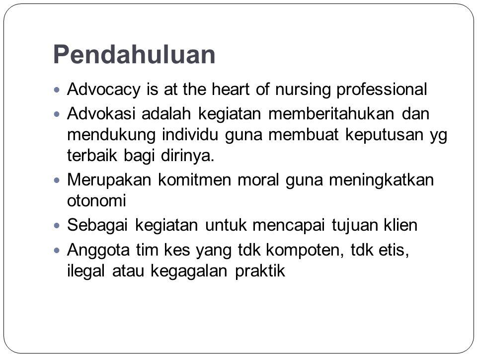 Cont………… Advokasi ad/dasar aktifitas keperawatan dan merupakan inti praktik kep.