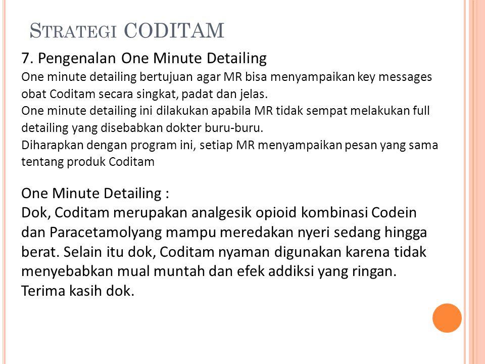 S TRATEGI CODITAM 7. Pengenalan One Minute Detailing One minute detailing bertujuan agar MR bisa menyampaikan key messages obat Coditam secara singkat