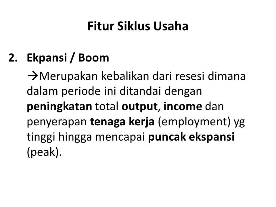 Fitur Siklus Usaha 2.Ekpansi / Boom  Merupakan kebalikan dari resesi dimana dalam periode ini ditandai dengan peningkatan total output, income dan pe