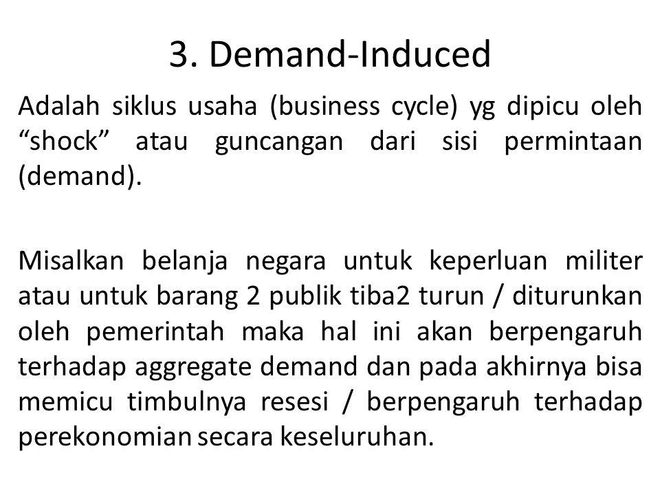 """3. Demand-Induced Adalah siklus usaha (business cycle) yg dipicu oleh """"shock"""" atau guncangan dari sisi permintaan (demand). Misalkan belanja negara un"""