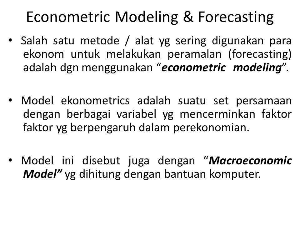 Econometric Modeling & Forecasting Salah satu metode / alat yg sering digunakan para ekonom untuk melakukan peramalan (forecasting) adalah dgn menggun