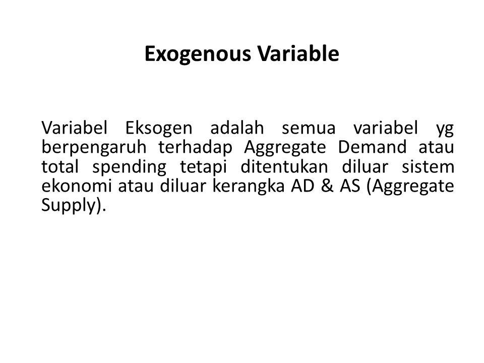 Exogenous Variable Variabel Eksogen adalah semua variabel yg berpengaruh terhadap Aggregate Demand atau total spending tetapi ditentukan diluar sistem