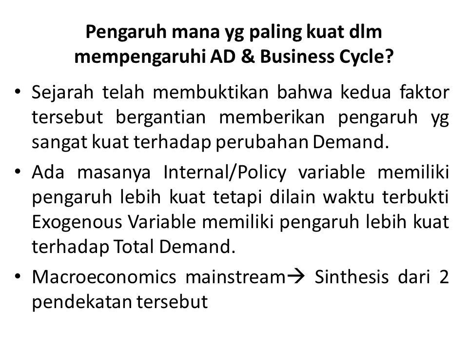Pengaruh mana yg paling kuat dlm mempengaruhi AD & Business Cycle? Sejarah telah membuktikan bahwa kedua faktor tersebut bergantian memberikan pengaru