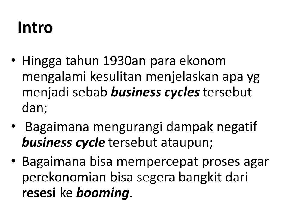 Intro Hingga tahun 1930an para ekonom mengalami kesulitan menjelaskan apa yg menjadi sebab business cycles tersebut dan; Bagaimana mengurangi dampak n