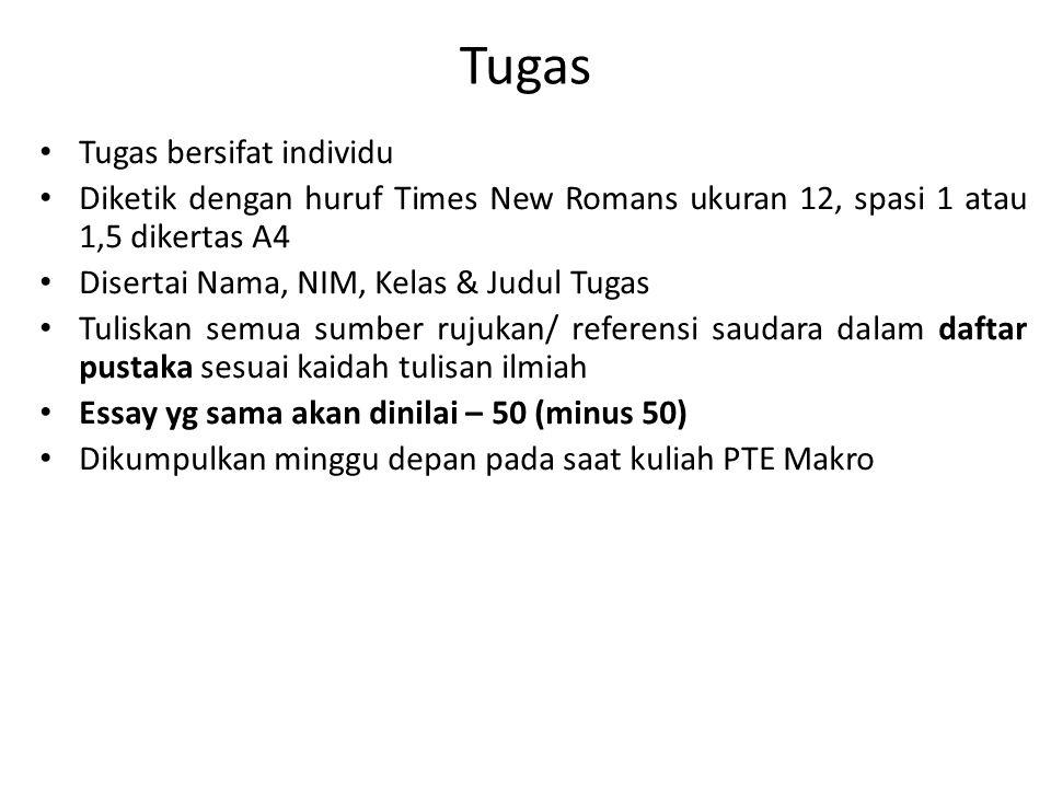 Tugas Tugas bersifat individu Diketik dengan huruf Times New Romans ukuran 12, spasi 1 atau 1,5 dikertas A4 Disertai Nama, NIM, Kelas & Judul Tugas Tu
