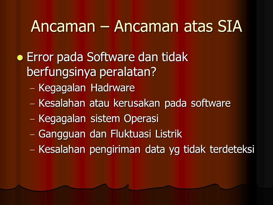 Ancaman – Ancaman atas SIA Error pada Software dan tidak berfungsinya peralatan.