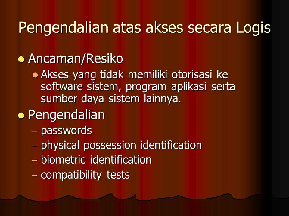 Pengendalian atas akses secara Logis Ancaman/Resiko Ancaman/Resiko Akses yang tidak memiliki otorisasi ke software sistem, program aplikasi serta sumber daya sistem lainnya.