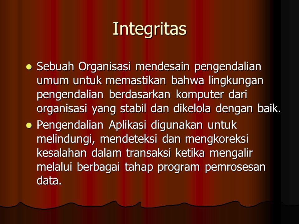 Integritas Sebuah Organisasi mendesain pengendalian umum untuk memastikan bahwa lingkungan pengendalian berdasarkan komputer dari organisasi yang stabil dan dikelola dengan baik.