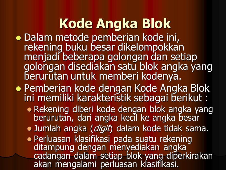 Kode Angka Blok Dalam metode pemberian kode ini, rekening buku besar dikelompokkan menjadi beberapa golongan dan setiap golongan disediakan satu blok angka yang berurutan untuk memberi kodenya.