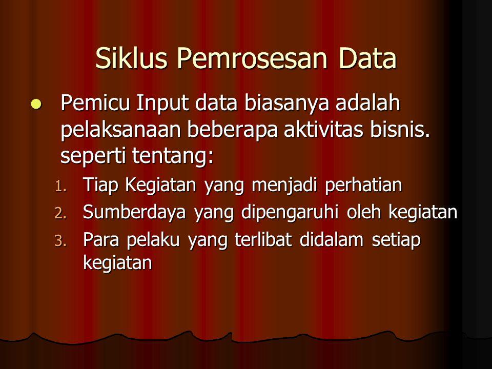 Pemicu Input data biasanya adalah pelaksanaan beberapa aktivitas bisnis.