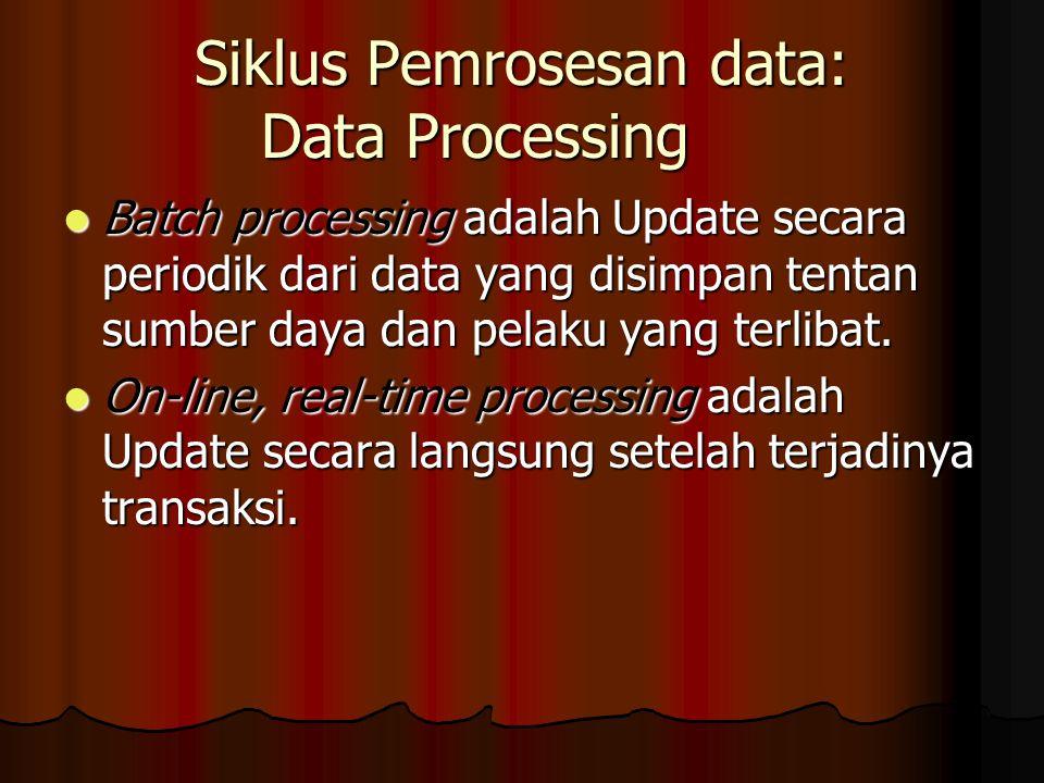 Siklus Pemrosesan data: Data Processing Batch processing adalah Update secara periodik dari data yang disimpan tentan sumber daya dan pelaku yang terlibat.