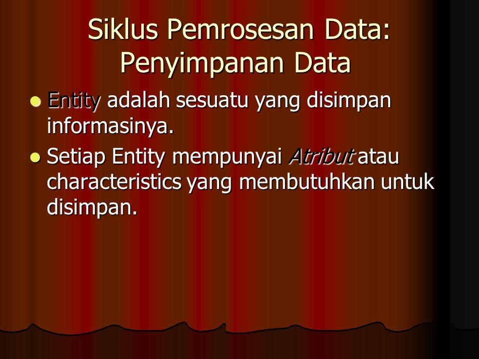 Siklus Pemrosesan Data: Penyimpanan Data Entity adalah sesuatu yang disimpan informasinya.