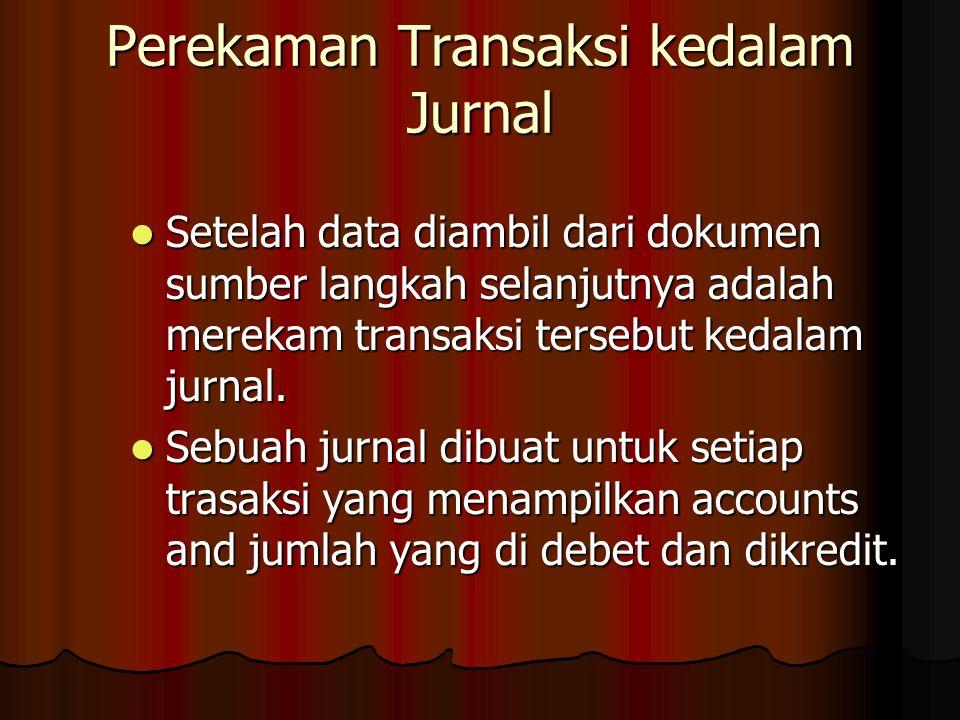 Setelah data diambil dari dokumen sumber langkah selanjutnya adalah merekam transaksi tersebut kedalam jurnal.