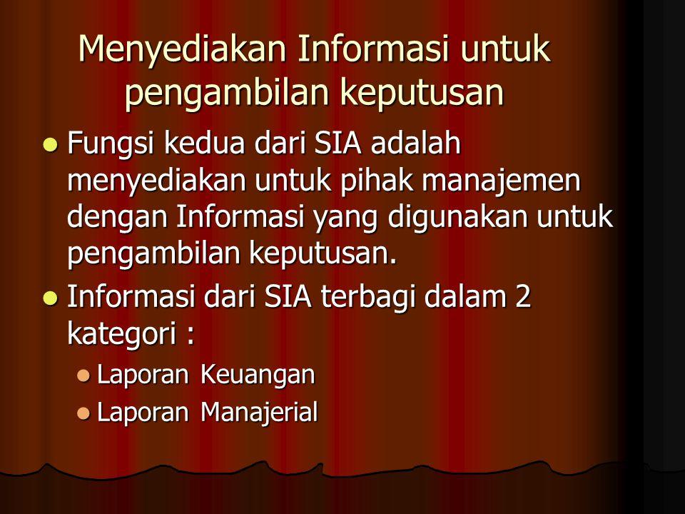 Menyediakan Informasi untuk pengambilan keputusan Fungsi kedua dari SIA adalah menyediakan untuk pihak manajemen dengan Informasi yang digunakan untuk pengambilan keputusan.
