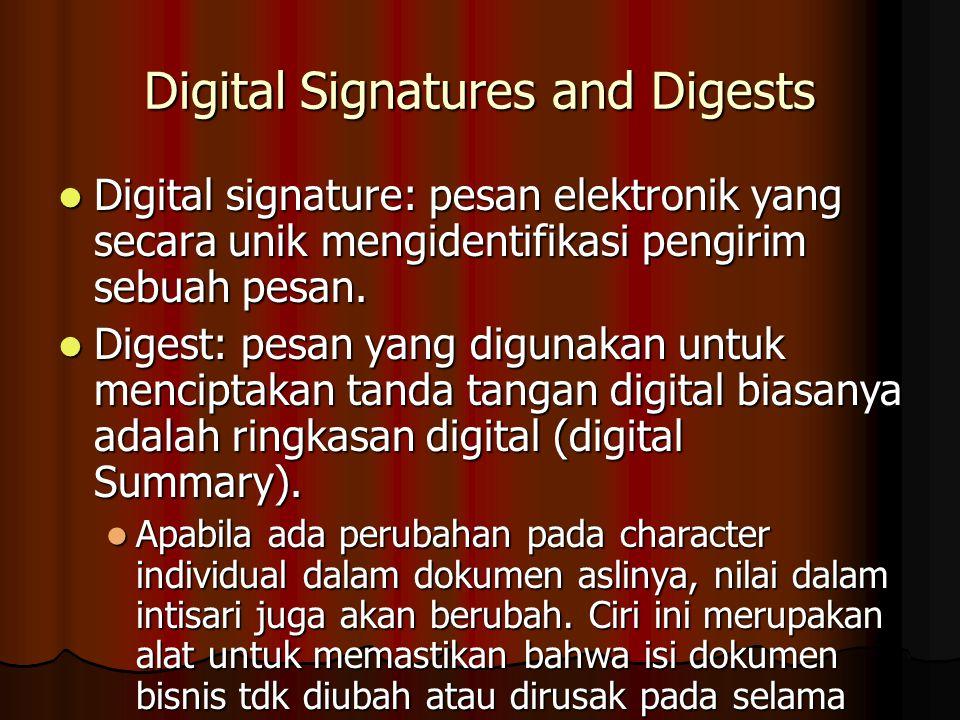 Digital Signatures and Digests Digital signature: pesan elektronik yang secara unik mengidentifikasi pengirim sebuah pesan.
