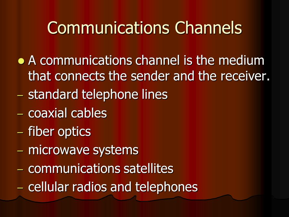 Communications Channels A communications channel is the medium that connects the sender and the receiver. A communications channel is the medium that