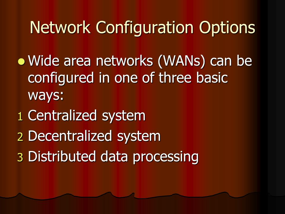 Network Configuration Options Wide area networks (WANs) can be configured in one of three basic ways: Wide area networks (WANs) can be configured in o
