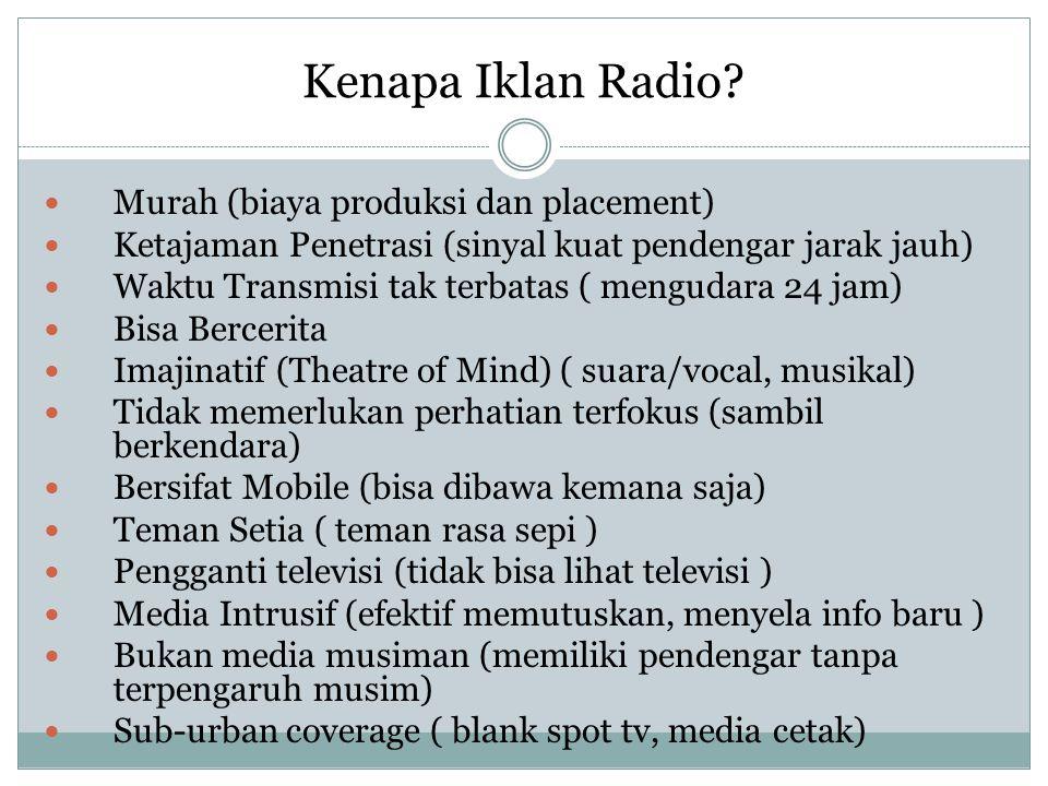 Kenapa Iklan Radio? Murah (biaya produksi dan placement) Ketajaman Penetrasi (sinyal kuat pendengar jarak jauh) Waktu Transmisi tak terbatas ( menguda