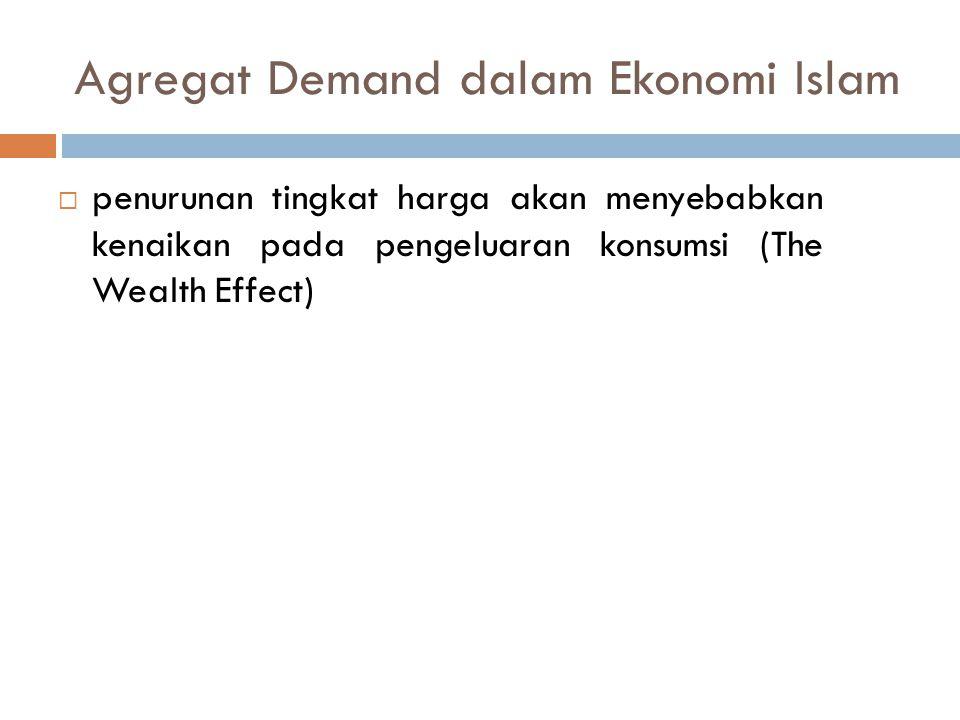 Agregat Demand dalam Ekonomi Islam  penurunan tingkat harga akan menyebabkan kenaikan pada pengeluaran konsumsi (The Wealth Effect)