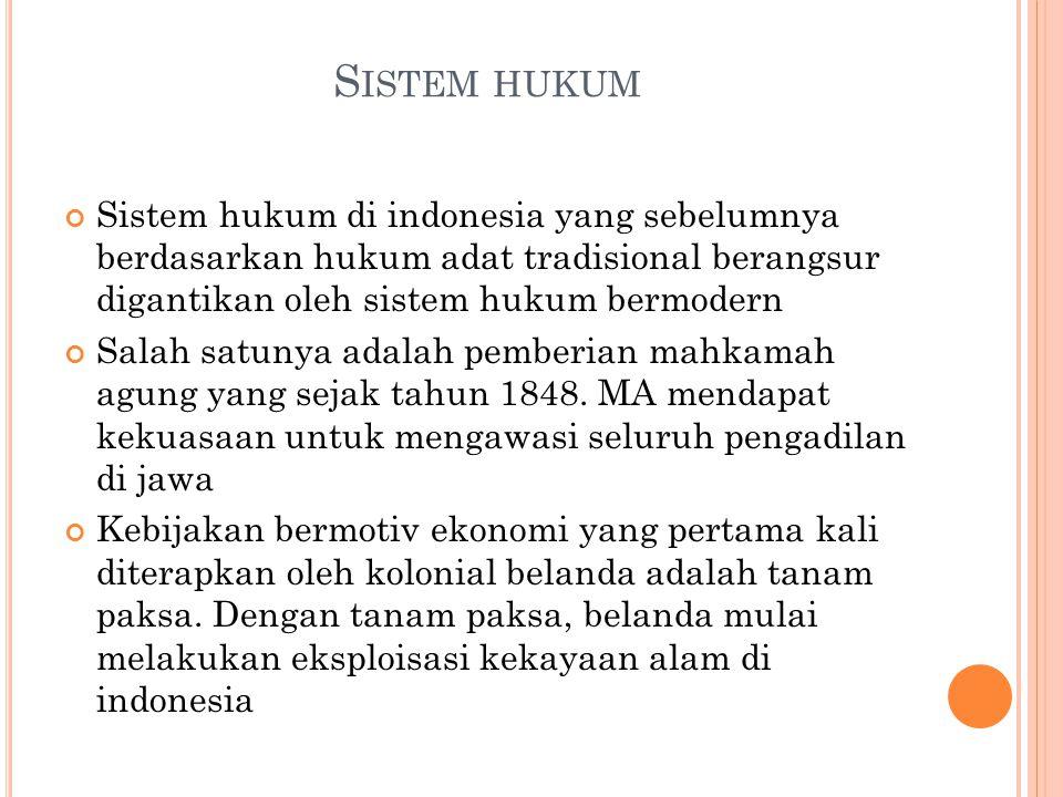 S ISTEM HUKUM Sistem hukum di indonesia yang sebelumnya berdasarkan hukum adat tradisional berangsur digantikan oleh sistem hukum bermodern Salah satu