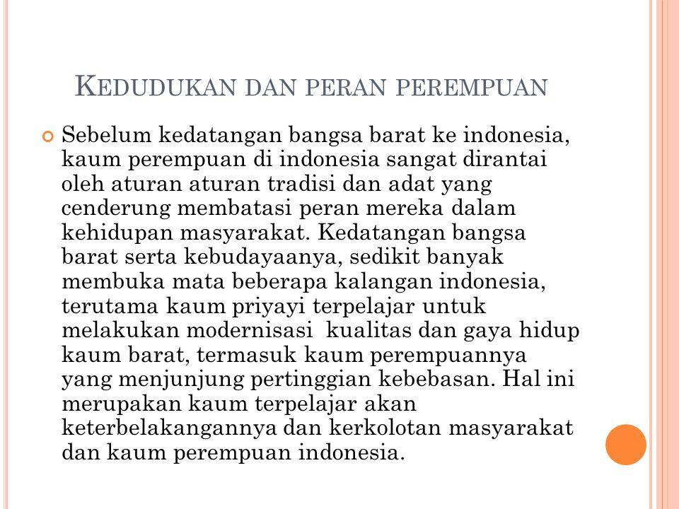 K EDUDUKAN DAN PERAN PEREMPUAN Sebelum kedatangan bangsa barat ke indonesia, kaum perempuan di indonesia sangat dirantai oleh aturan aturan tradisi da