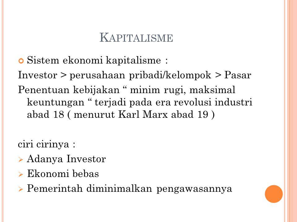 """K APITALISME Sistem ekonomi kapitalisme : Investor > perusahaan pribadi/kelompok > Pasar Penentuan kebijakan """" minim rugi, maksimal keuntungan """" terja"""