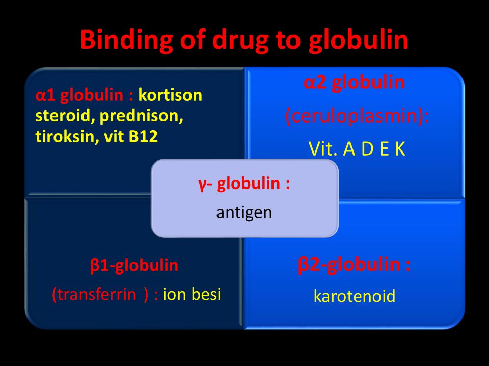 Binding of drug to globulin α1 globulin : kortison steroid, prednison, tiroksin, vit B12 α2 globulin (ceruloplasmin): Vit. A D E K β1-globulin (transf