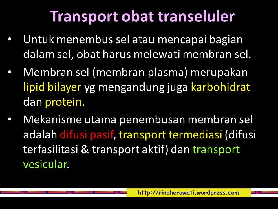 Transport obat transeluler Untuk menembus sel atau mencapai bagian dalam sel, obat harus melewati membran sel. Membran sel (membran plasma) merupakan