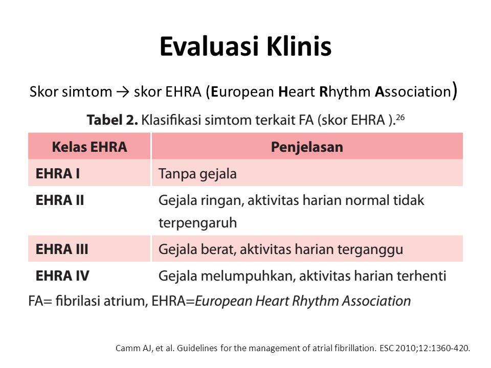 Evaluasi Klinis Skor simtom → skor EHRA (European Heart Rhythm Association ) Camm AJ, et al. Guidelines for the management of atrial fibrillation. ESC