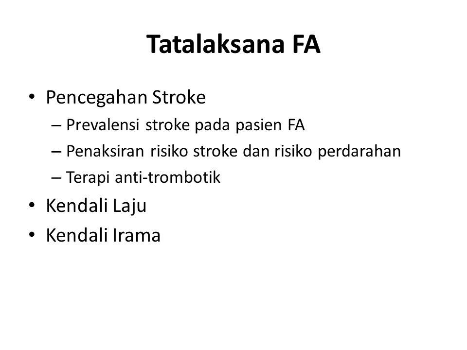 Tatalaksana FA Pencegahan Stroke – Prevalensi stroke pada pasien FA – Penaksiran risiko stroke dan risiko perdarahan – Terapi anti-trombotik Kendali L