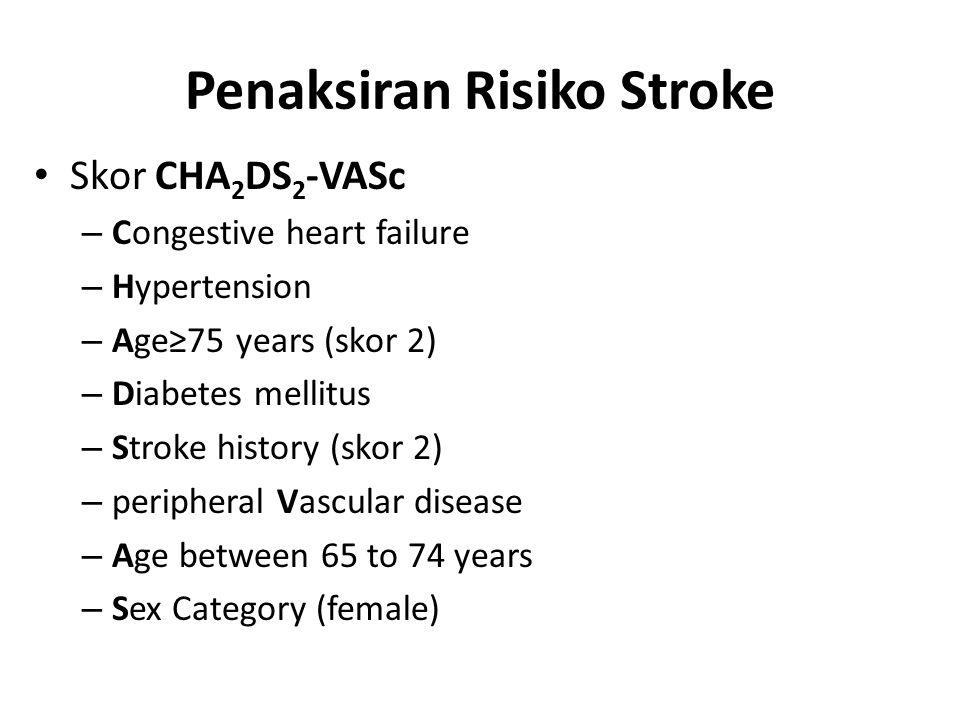 Penaksiran Risiko Stroke Skor CHA 2 DS 2 -VASc – Congestive heart failure – Hypertension – Age≥75 years (skor 2) – Diabetes mellitus – Stroke history