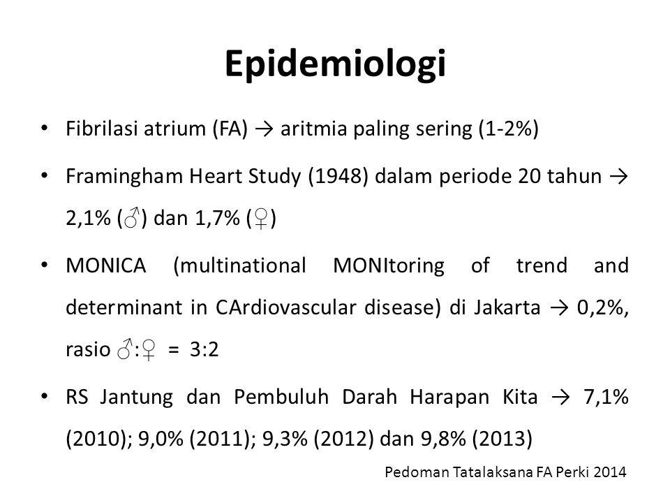 Epidemiologi Fibrilasi atrium (FA) → aritmia paling sering (1-2%) Framingham Heart Study (1948) dalam periode 20 tahun → 2,1% ( ♂ ) dan 1,7% ( ♀ ) MON