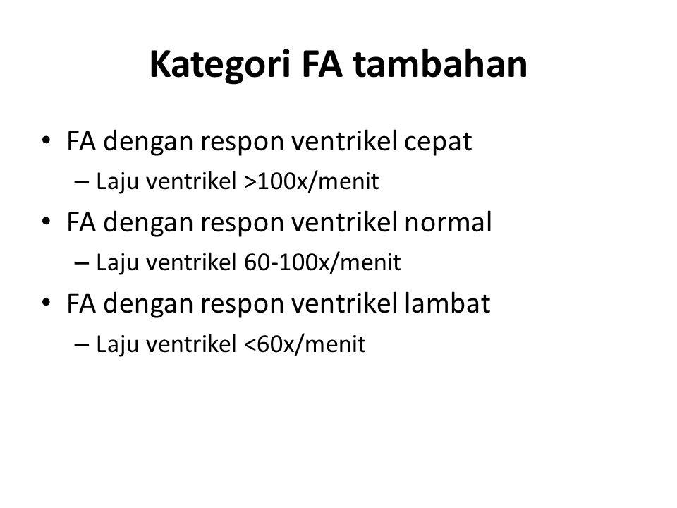 Kategori FA tambahan FA dengan respon ventrikel cepat – Laju ventrikel >100x/menit FA dengan respon ventrikel normal – Laju ventrikel 60-100x/menit FA