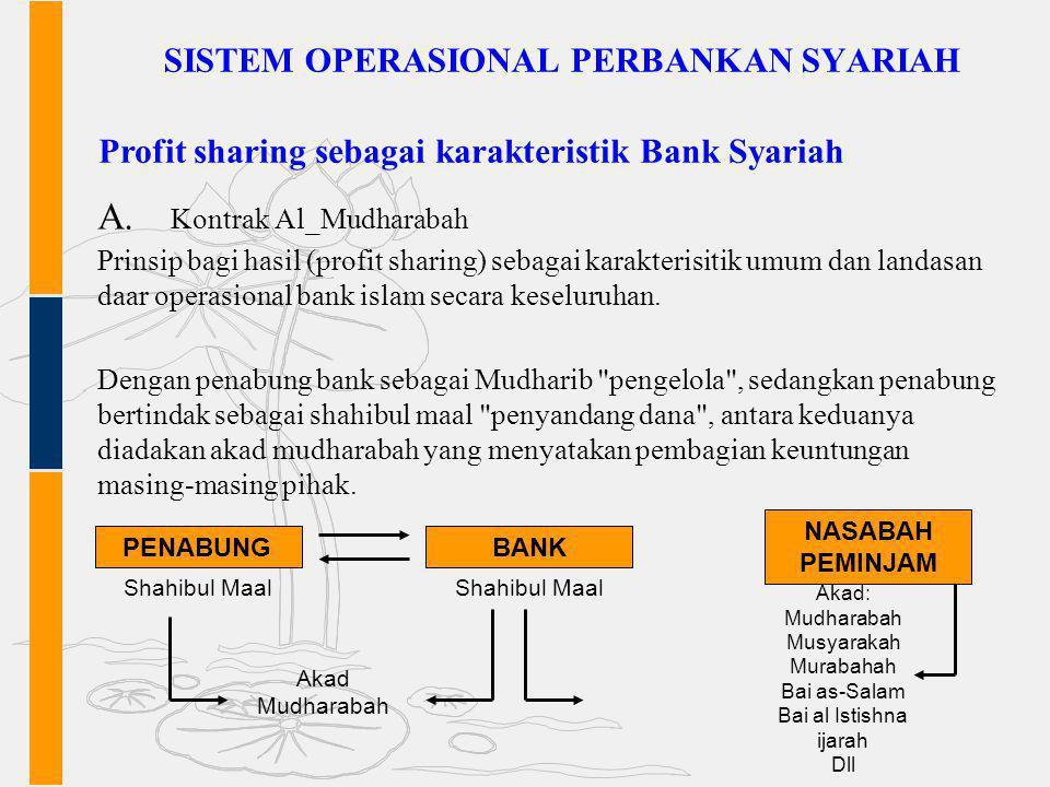 SISTEM OPERASIONAL PERBANKAN SYARIAH A. Kontrak Al_Mudharabah Prinsip bagi hasil (profit sharing) sebagai karakterisitik umum dan landasan daar operas