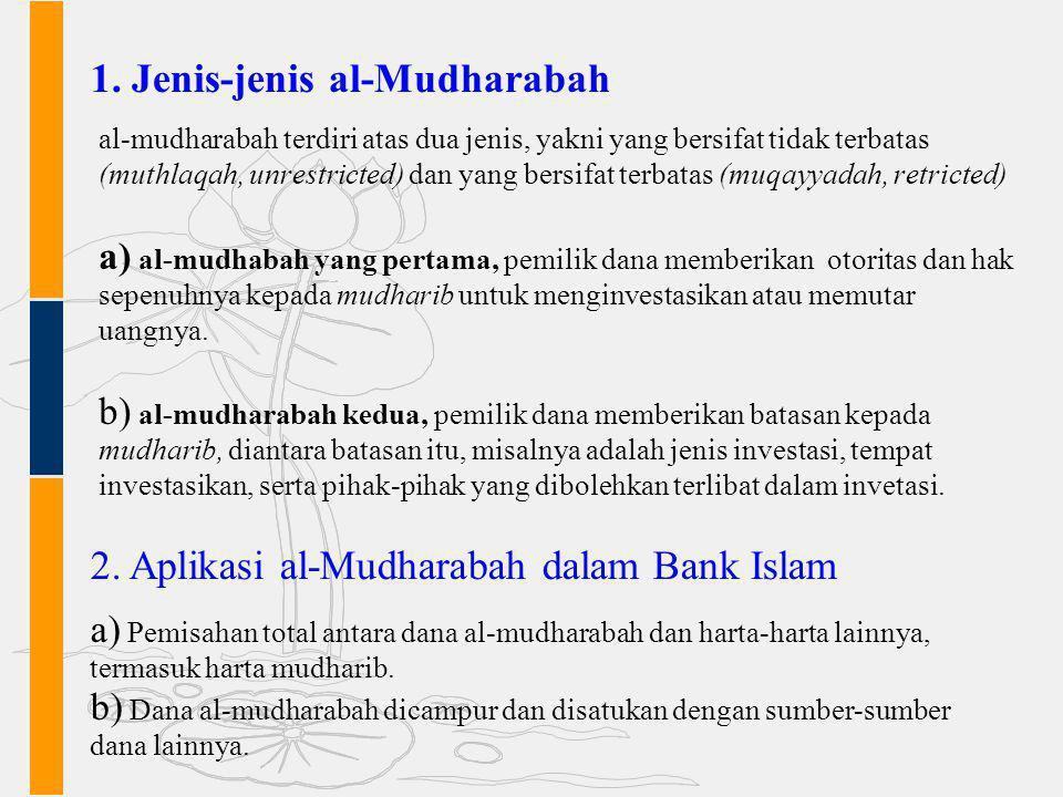 1. Jenis-jenis al-Mudharabah al-mudharabah terdiri atas dua jenis, yakni yang bersifat tidak terbatas (muthlaqah, unrestricted) dan yang bersifat terb