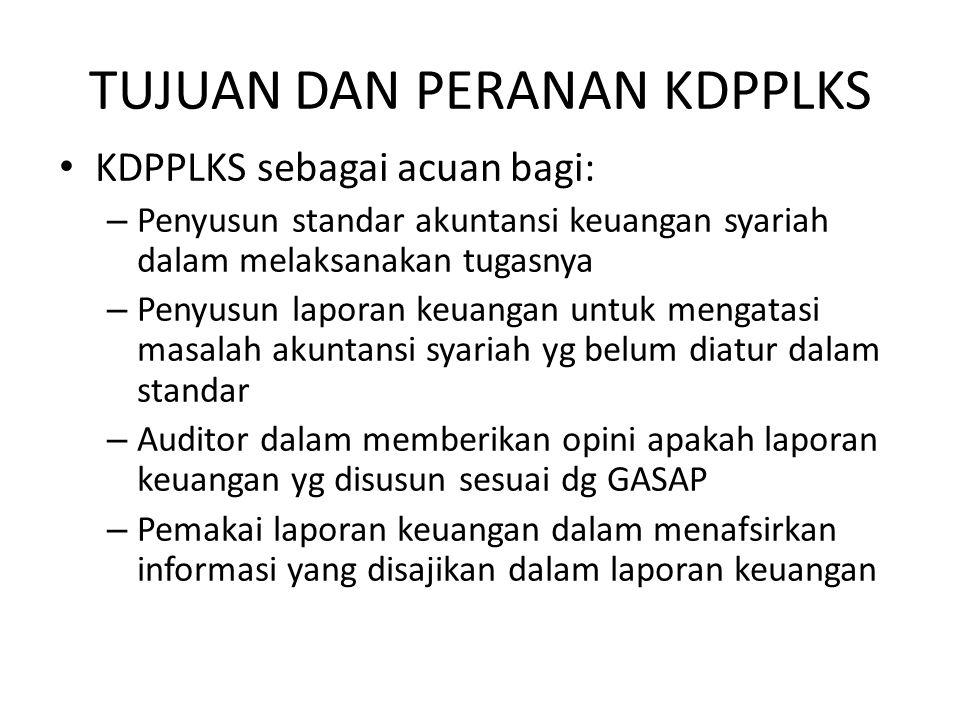 TUJUAN DAN PERANAN KDPPLKS KDPPLKS sebagai acuan bagi: – Penyusun standar akuntansi keuangan syariah dalam melaksanakan tugasnya – Penyusun laporan ke