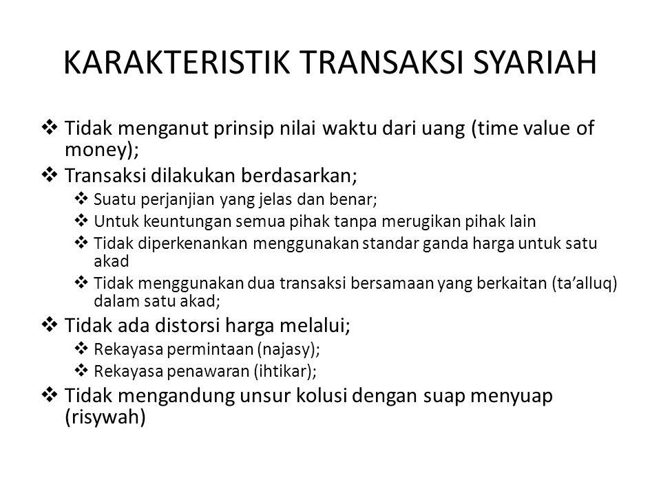 KARAKTERISTIK TRANSAKSI SYARIAH  Tidak menganut prinsip nilai waktu dari uang (time value of money);  Transaksi dilakukan berdasarkan;  Suatu perja
