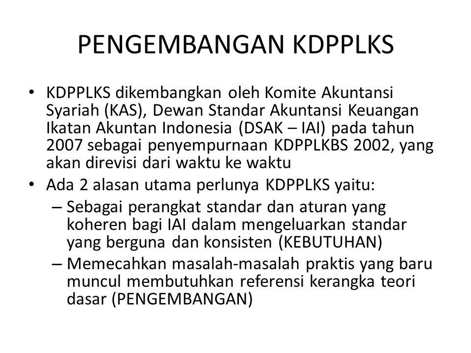 PENGEMBANGAN KDPPLKS KDPPLKS dikembangkan oleh Komite Akuntansi Syariah (KAS), Dewan Standar Akuntansi Keuangan Ikatan Akuntan Indonesia (DSAK – IAI)