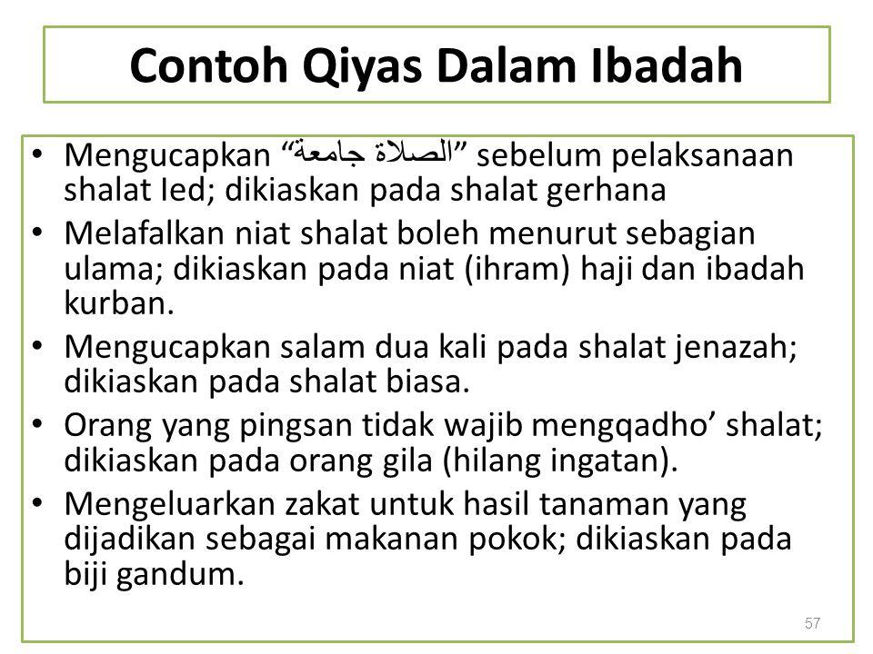 """Contoh Qiyas Dalam Ibadah Mengucapkan """" الصلاة جامعة """" sebelum pelaksanaan shalat Ied; dikiaskan pada shalat gerhana Melafalkan niat shalat boleh menu"""